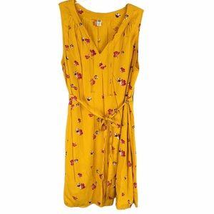 Old Navy 2X Yellow Floral Midi Sundress Tie Waist
